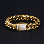 12mm Cuban Iced Out Buckle Bracelet 18k Gold