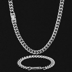 8mm Silver Cuban Link Chain 18k