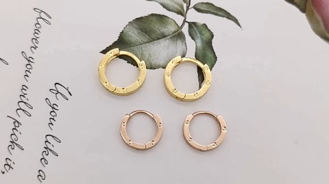 Trendy Real 18K Gold Huggie Earring, 18K Yellow Gold Small Hoop Earring Muti-Size Cuff Earring Hoops