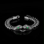 KRKC Drop Shipping 1pcs Service 10mm Black 925 Silver Two Snakes Cuban Link Bracelet