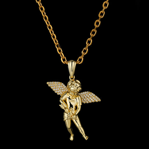 KRKC Drop Shipping From China 1pcs Service 14K White Gold Cupid Angel Pendant Necklace Chain Gold Charm Flying Angel Necklace