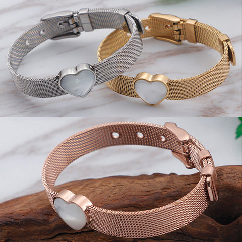 High Quality Fashion Stainless Steel Wristband Bracelet Heart Mother Of Pearl Silver Rose Gold Mesh Belt Reflexions Bracelet