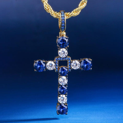 KRKC&CO 14K Gold Blue CZ Iced Swing Cross Pendant Hip Hop Jewelry for amazon/ebay/wish online store for Wholesale Agent in Stock
