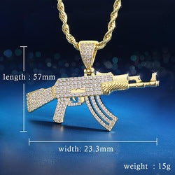 KRKC Drop Shipping From China 1pcs Service 14K Gold AK47 Rifle Gun Pendant Necklace Iced Out CZ Jewelry Charm Gun Necklace