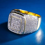 KRKC&CO14K Gold Plated Square Iced Out Ring Bling Ring Platform Ring CZ  Hip Hop Jewelry for Men Wholesale