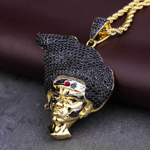 KRKC&CO 14K Gold AFRO SAMURAI Pendant Hip Hop Jewelry for amazon/ebay/wish online store for Wholesale Agent in Stock