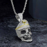 KRKC&CO White Gold Iced Out Skull With Military Cap Pendant Hip Hop Jewelry for amazon/ebay/wish online store for Wholesale