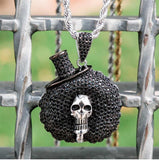 KRKC&CO  Iced Out Black Afro Skull Pendant Hip Hop Jewelry for amazon/ebay/wish online store for Wholesale Agent in Stock