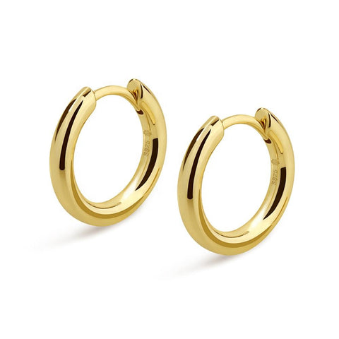 KRKC hip hop jewelry men earring 14k gold white gold plated 925 sterling silver hoop earrings