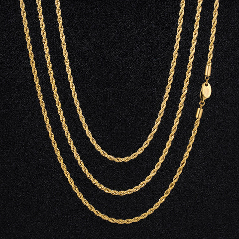 3mm Rope Chain 18k Gold