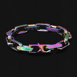 KRKC New Design Fashion Colorful Big 10mm Stainless Steel Men LV Rainbow Paper Clip Bracelet