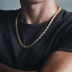 KRKC&CO 6mm Twist Thick Necklace Hip Hop Men Iced Out Plated Diamond 14K Gold Rope Chain