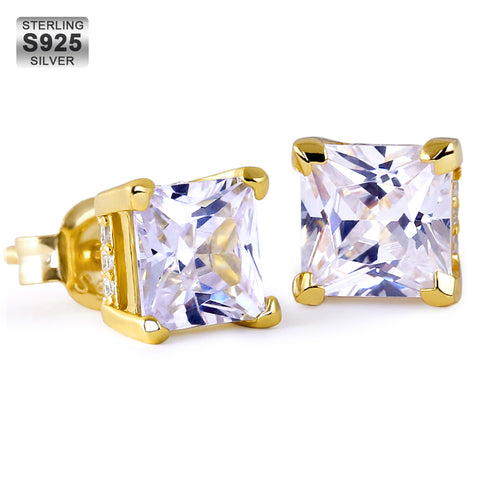 KRKC Fashion 925 Sterling Silver Black Gold Plated CZ Stud Earrings