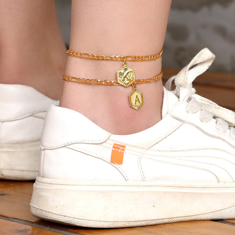 KRKC 2020 Wholesale Women Stainless Steel Anklet Foot Jewelry 14k Gold Plated Letter Anklet Initial Anklet with Initial Letter