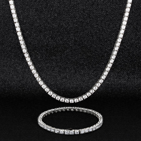 3mm Silver/Gold CZ Tennis Necklace