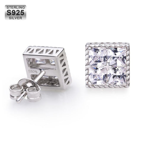 KRKC Drop Shipping From China Fashion 925 Sterling Silver Stud Earrings Set Men Cubic Zirconia CZ Diamond Stud Earrings Jewelry