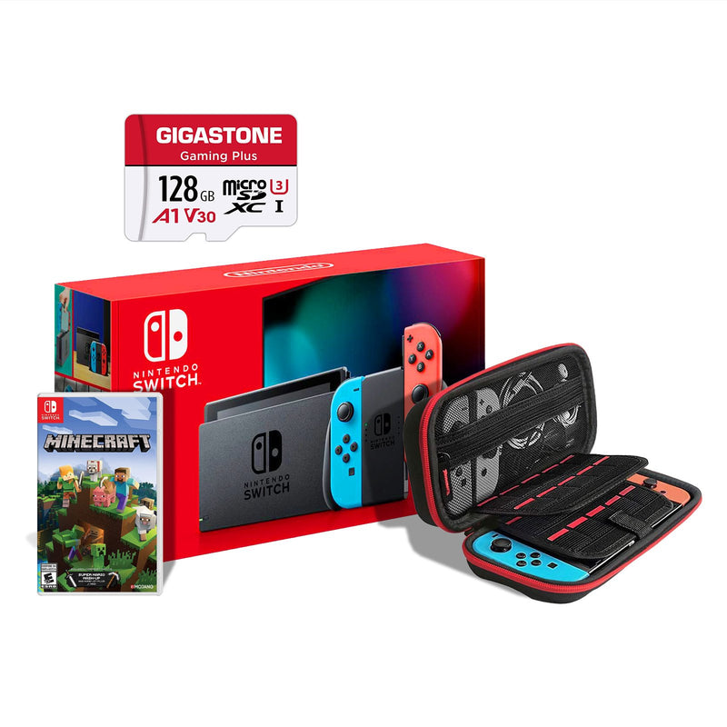 Nintendo Switch Console Bundle with Minecraft + 128GB Micro SD Card (Red/Blue Joy-Con) (6041161040039)