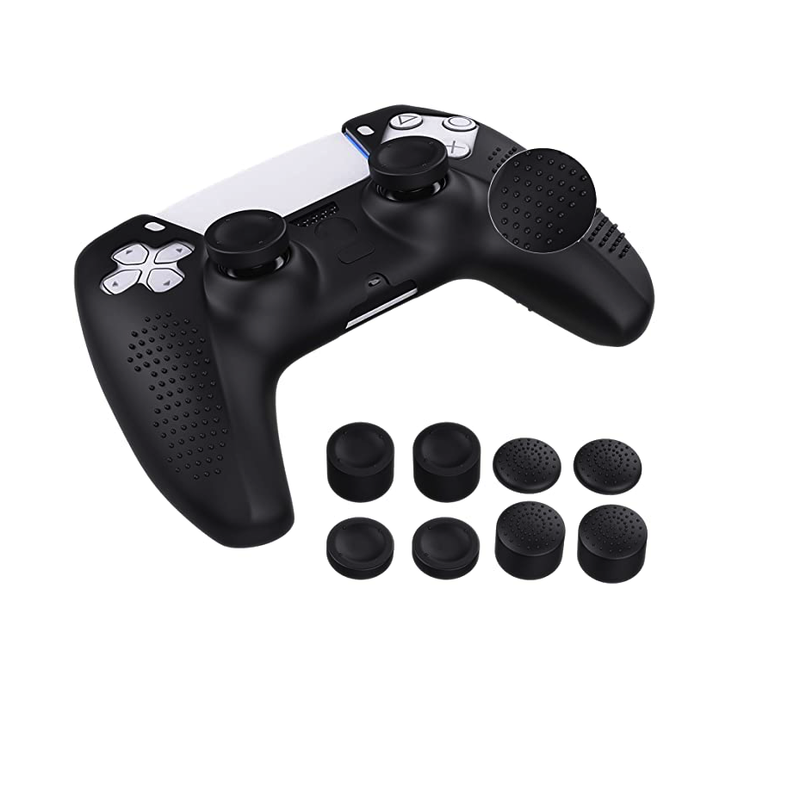 Case for PS5 Controller Skin, Silicone Cover Skin Case with 8 Thumb Grip Caps