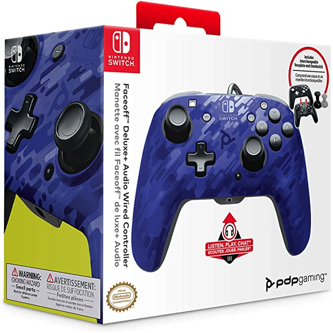 Nintendo Switch Faceoff Deluxe+ Audio Wired Controller - Red Camo, Blue Camo or Purple Camo