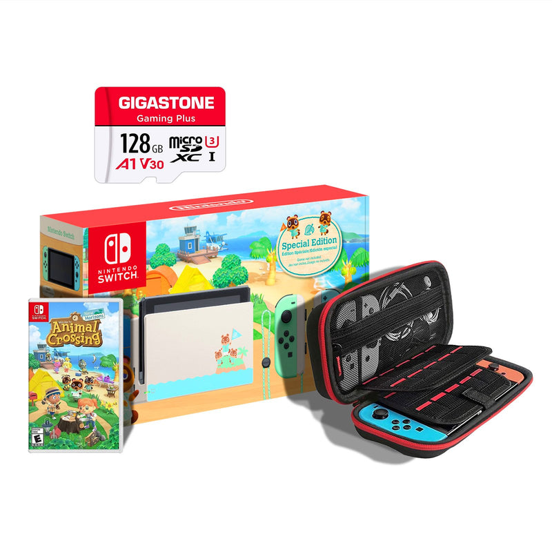 Nintendo Switch Console - Animal Crossing Special Edition Bundle + 128GB Micro SD Card | Gaming Shop