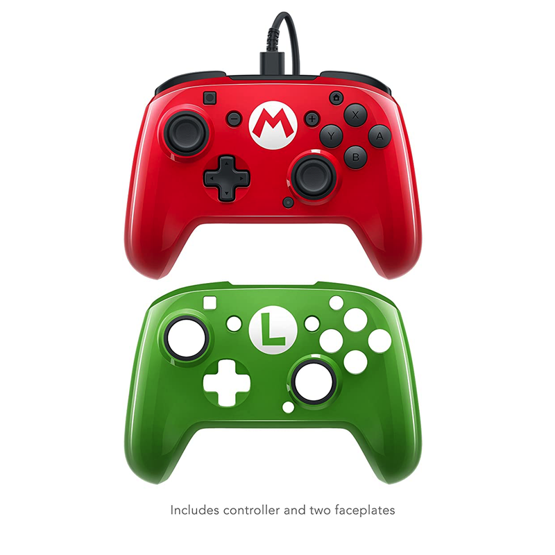 Nintendo Switch Faceoff Wired Pro Controller with 2 Super Mario Controller Faceplates | Gaming Shop