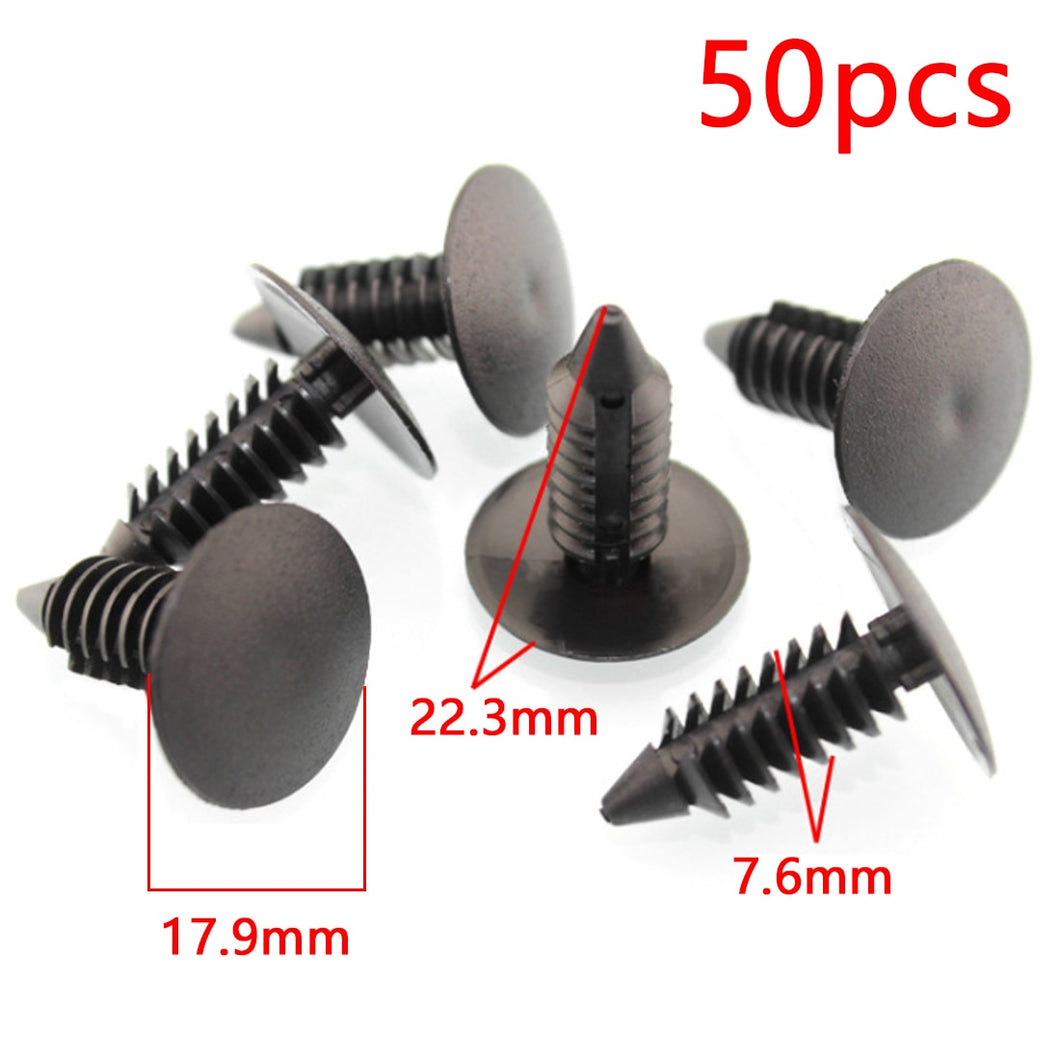 Dewtreetali Universal 50Pcs Car Clips Fender Bumper Shield Retainer Auto Fastener fit 8mm Hole Plastic Plastic Rivet Car Styling