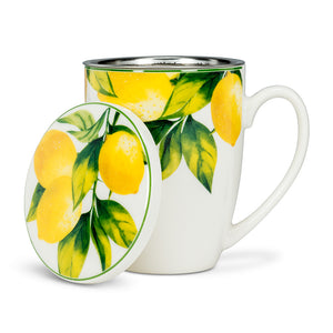 Lemon Tree Covered Mug & Strainer. 3 pieces