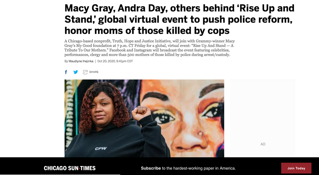 Macy Gray, Andra Day, others behind 'Rise Up and Stand,' global virtual event to push police reform, honor moms of those killed by cops