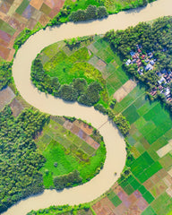 Winding River Through Farmland
