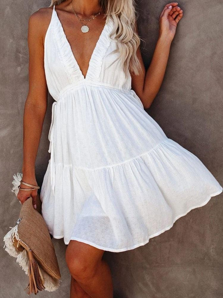 SEXY DEEP V-NECK SLEEVELESS BIKINI  DRESS