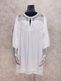 WHITE COTTON  FRINGED MINI BEACH COVER UP