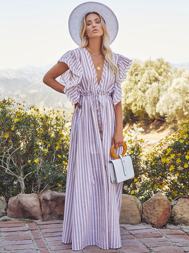 LONG STRIPED CASUAL BEACH DRESS