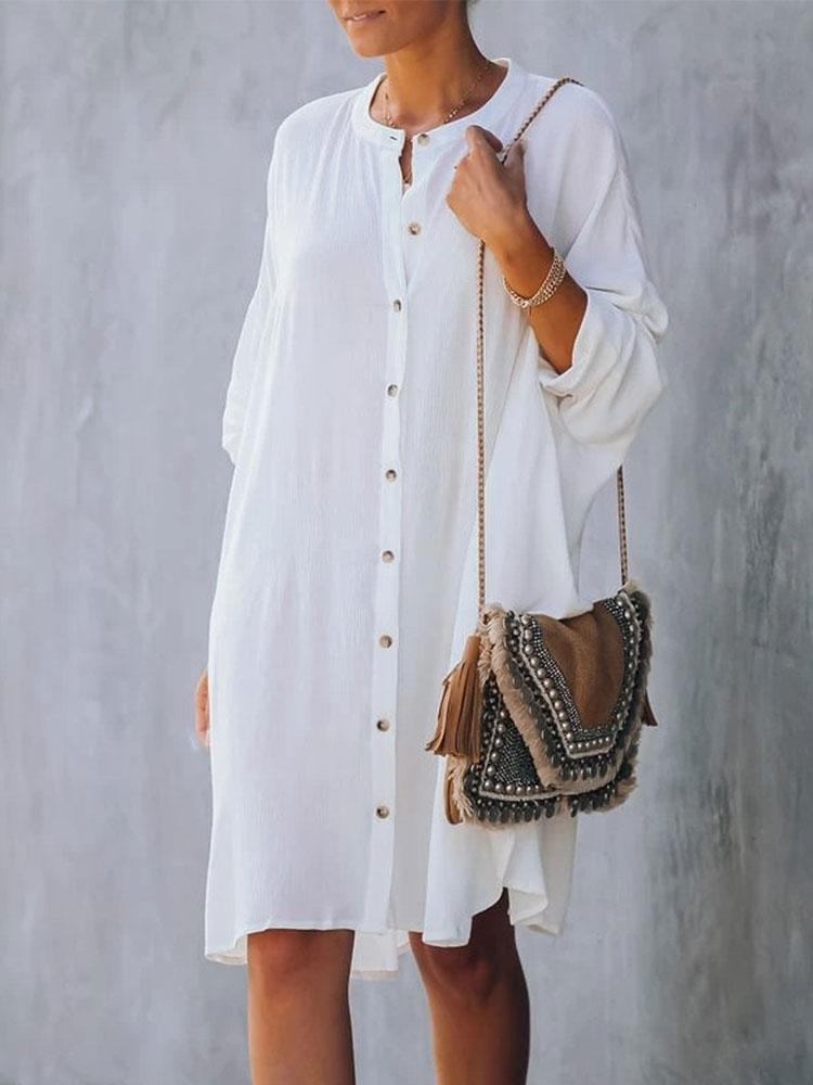 CASUAL COTTON TUNIC BEACH COVER-UPS