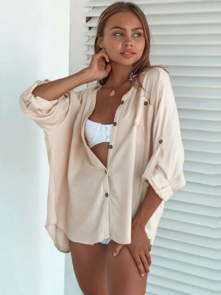 BEIGE V-NECK SHIRT