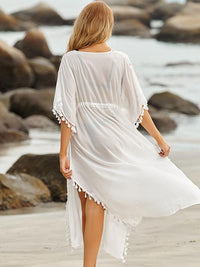 WHITE FRINGED TUNIC LONG SKIRT