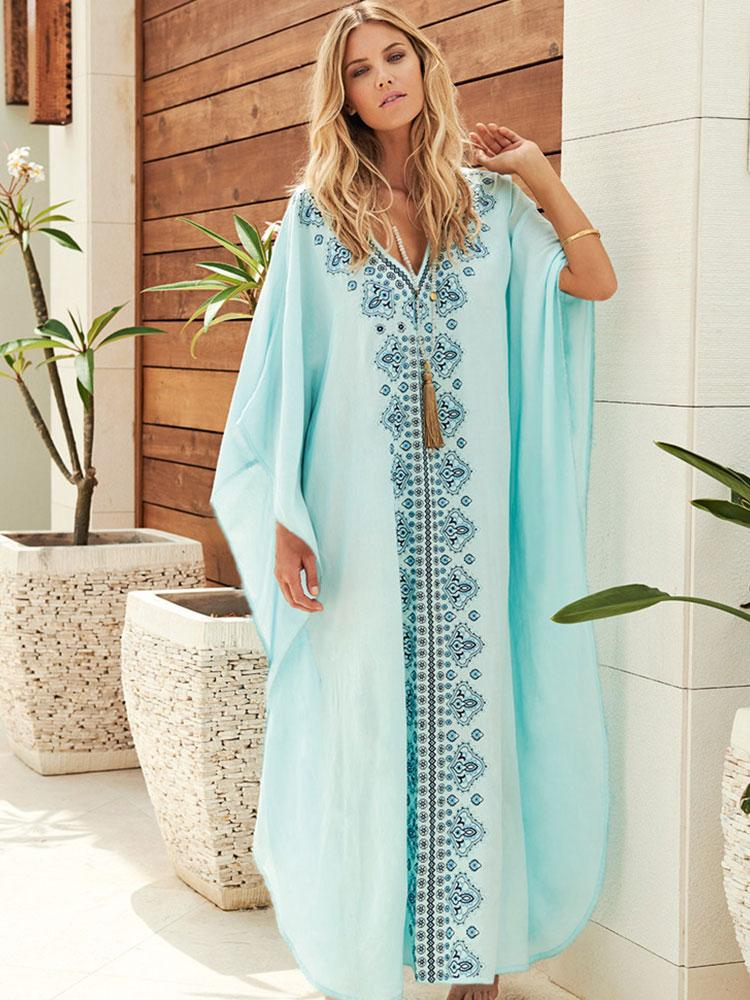 SKY BLUE EMBROIDERED KAFTAN