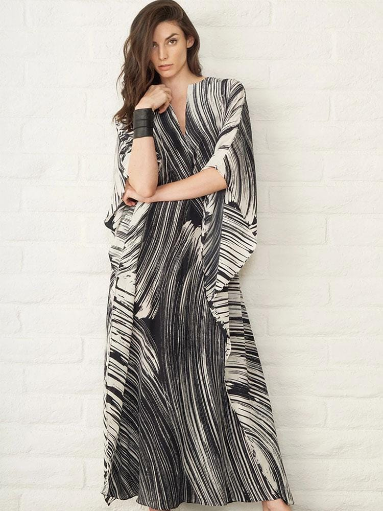 BLACK STRIPE PRINTED KAFTAN