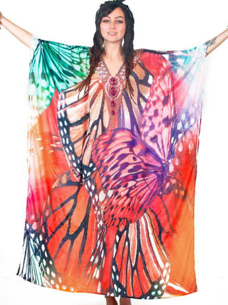 BUTTERFLY-PRINTED COTTON KAFTAN