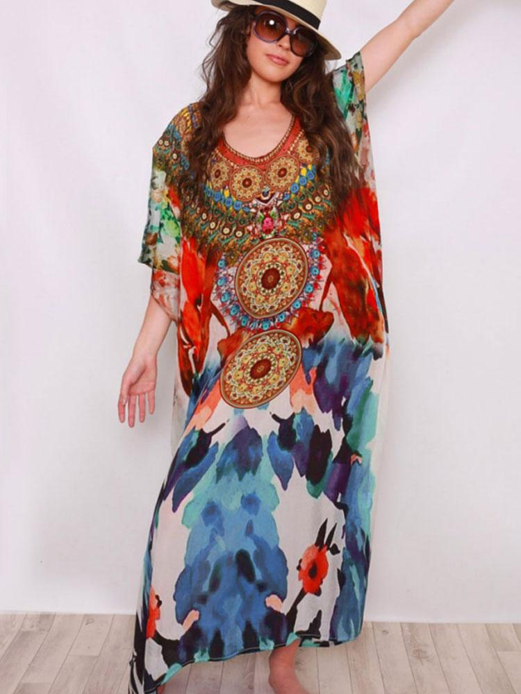 BOHEMIAN PRINTED COTTON KAFTAN