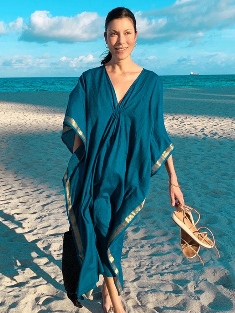 BLUE TUNIC SEXY STRIPED KAFTAN