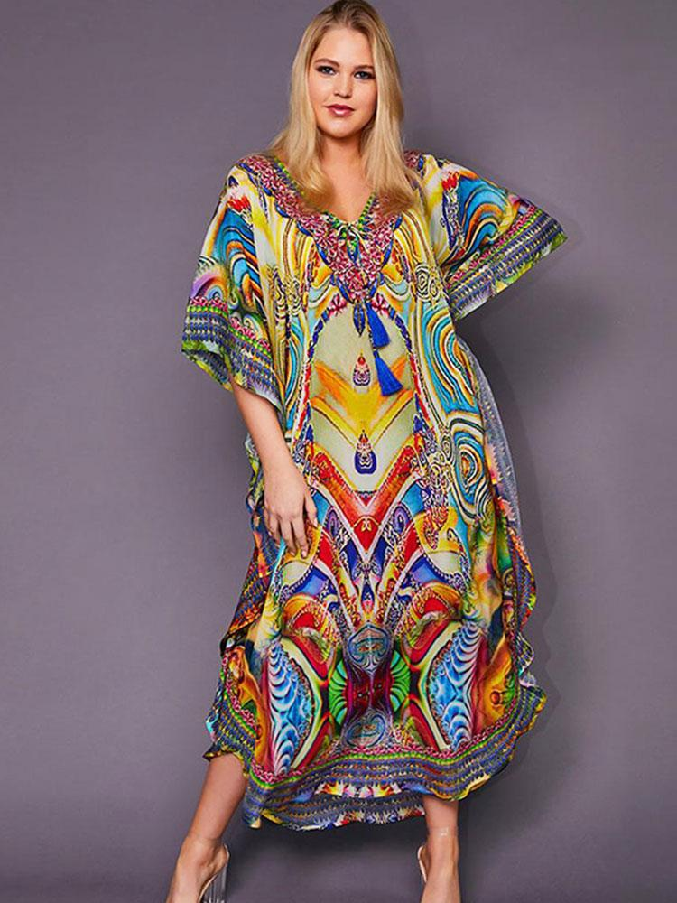 MULTICOLORED BOHEMIAN TASSEL KAFTAN