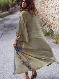 ARMY GREEN EMBROIDERY BEACH COVER-UP
