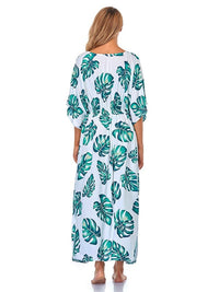 COTTON LEAF PRINT BEACH DRESS