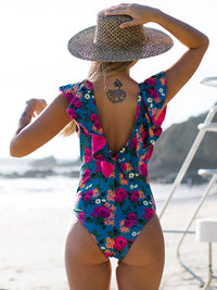 RUFFLED V-NECK ONE PIECE SWIMSUIT