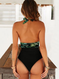 GREEN PRINT ONE-PIECE SWIMSUIT
