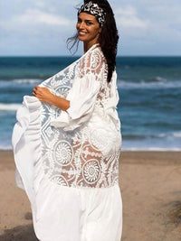 WHITE  EMBROIDERED BEACH COVER-UP