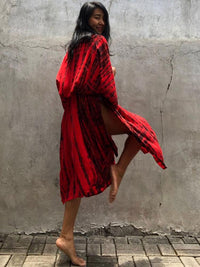 RED STRIPED LONG KIMONO