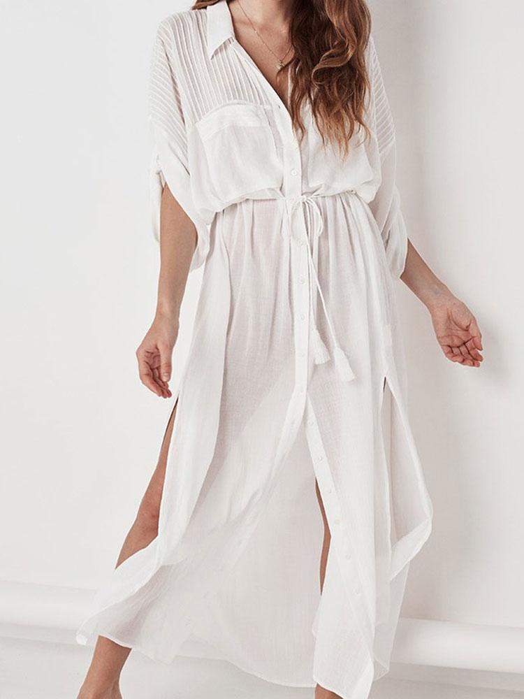 WHITE COTTON BEACHWEAR COVER-UPS