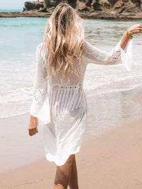 WHITE CROCHET BEACH WRAP DRESS