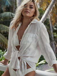 WHITE COTTON BEACH COVER-UP